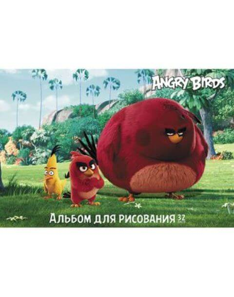 "Альбом 32л.  ""ANGRY BIRDS"" (MOVIE)   на скобе 32А4В  1/45"