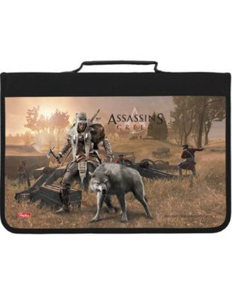"Папка для труда А4 ""Assassin""s creed"" с ручкой  пластик. на молнии    Amt_48008  1/12"